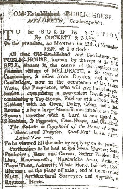 Sale of The Old Bell in 1820 | The Royston Crow, Nov 10th 1820