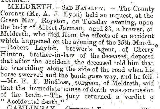 Death of Albert Jarman, brewer, 1895