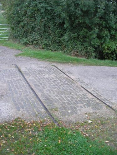 The remains of the tramway crossing at Chiswick End | Photograph by Tim Gane, 2007