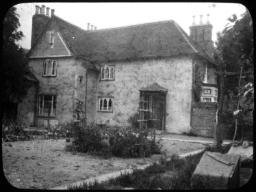 Lantern slide of a west view of Sheen Manor House of unknown date | Cambridge Antiquarian Society