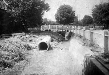 Sheene Corner during improvements to drainage etc. ~1936 | Cambridge Antiquarian Society Lantern Slide
