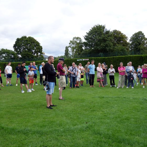 People at the opening of the newly refurbished tennis courts, 12th August 2017 | Photograph by Kathryn Betts