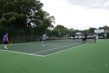 The opening of the newly refurbished Meldreth Tennis Courts, August 2017 | Photograph by Kathryn Betts