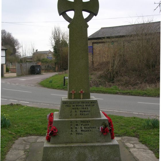 Meldreth War Memorial, showing the names of those who died in the Second World War | Photograph by Kathryn Betts, March 2010