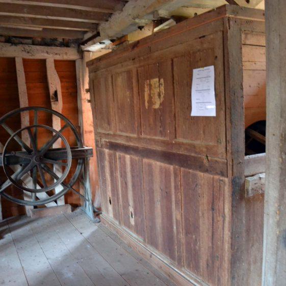 First floor: wooden housing for boulter or flour dresser, December 2013 | Photograph by Kathryn Betts