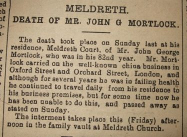 Newspaper Report of the Death of John George Mortlock | Herts. & Cambs Recorder, 12th January 1917