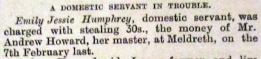 Extract from the newspaper report, March 1891, summarising the case against Emily Humphrey | Royston Crow