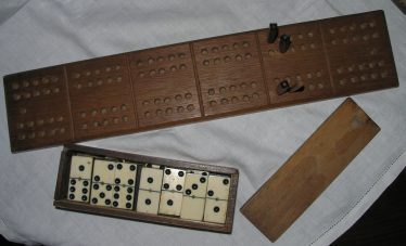 Original Dominoes and Peg Board from The Dumb Flea | Courtesy of Joan Rayner