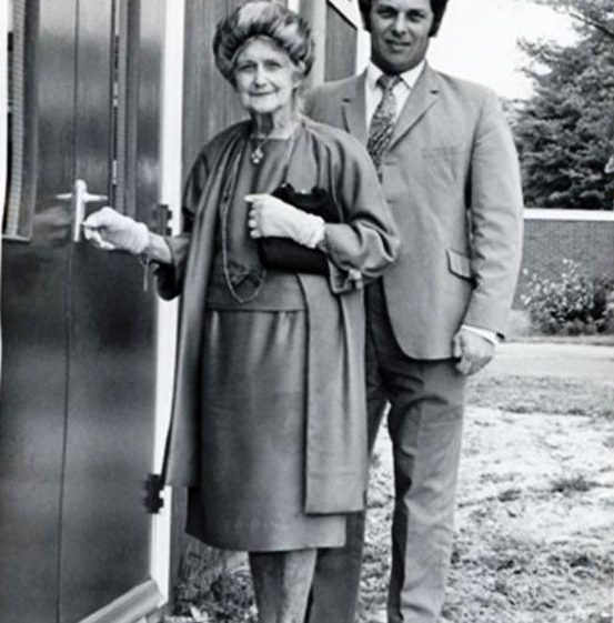 Mrs Mary Dainty and Mr Dennis Waldockat the opening of the Village Hall on the corner of Elin Way and High Street, Meldreth.  1973 | Photo supplied by Mary Hoy
