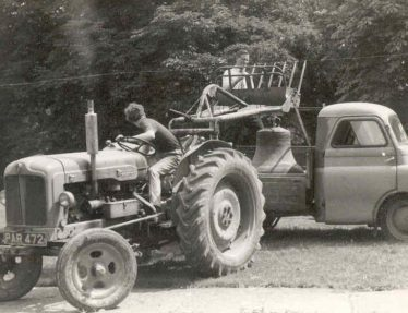 David Pepper on the tractor, with John Gipson behind | Photograph supplied by John Gipson
