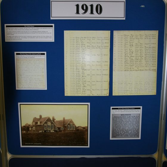 Display on the history of the school: 1910