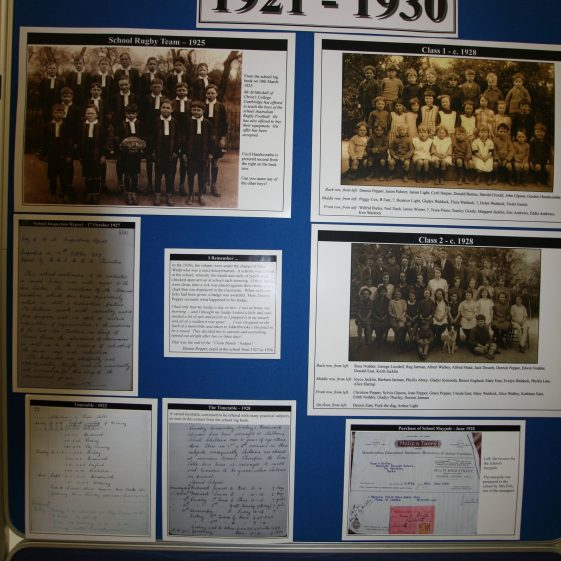 Display on the history of the school: 1921-1930