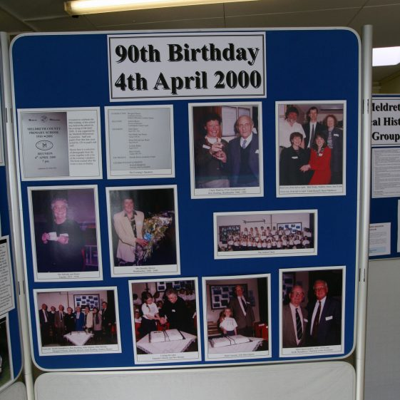 Display on the history of the school: 90th Birthday in 2000