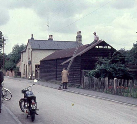 Barns being dismantled by Doug Oliver and Mr Reid in preparation of the erection of new dwelling, High Street, Meldreth. 1960   Photo supplied by Ann Handscombe