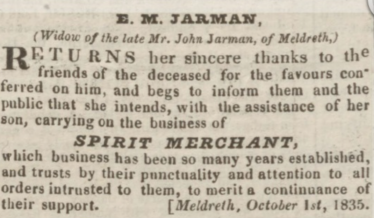 Newspaper notice placed by John Jarman's widow, October 1st, 1835 | Huntingdon, Bedford & Peterborough Gazette, 3rd October 1835