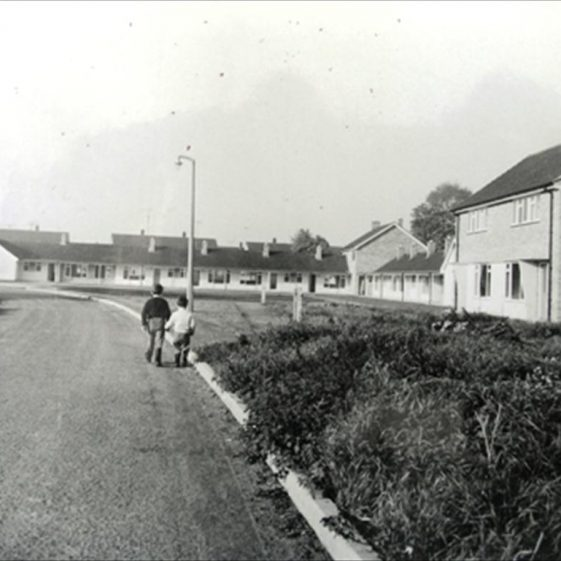 Elin Way in the 1960s, showing the warden controlled bungalows.  The bungalows were demolished in 2006 and replaced with low cost housing   Meldreth WI
