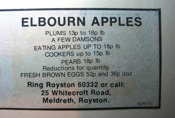 Advert for Elbourn Apples still trading in Whitecroft Road | Meldreth W.I.