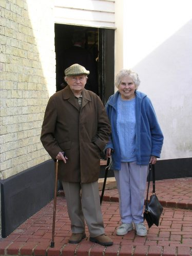Mary with her brother Eric, pictured on a visit to Topcliffe Mill in 2007 | Photograph by Kathryn Betts