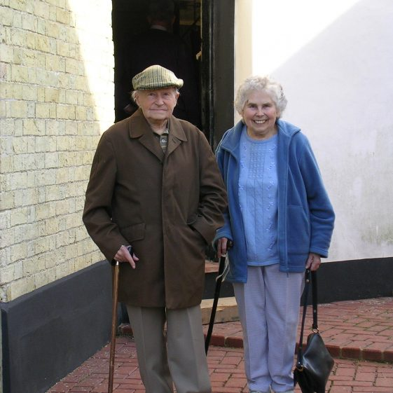 Eric Adcock and his sister Mary Findlay (nee Adcock) outside Topcliffe Mill in 2007 | Photograph by Kathryn Betts