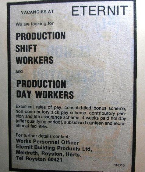 Advert for staff at Eternit | Meldreth W.I.