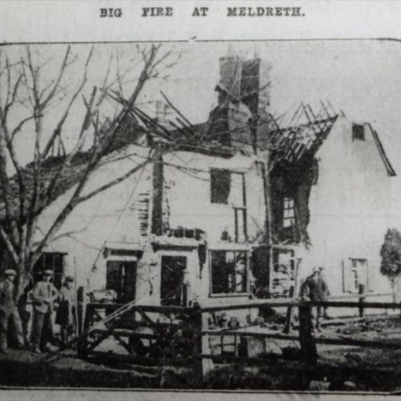 Fire at old farmhouse owned by Mr H Ellis (opposite school), High Street, Meldreth. 15/03/1929 | Photo supplied by Ann Handscombe