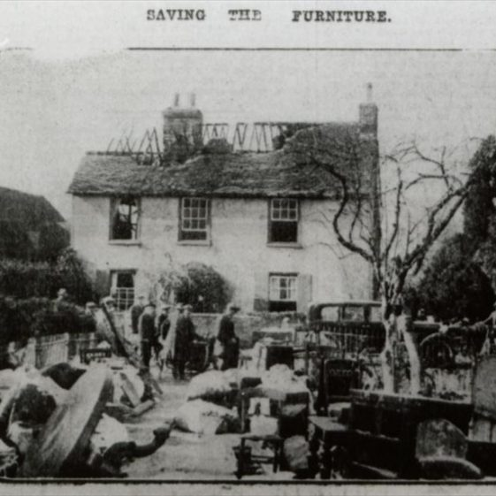 The Old Farmhouse following the fire in March 1929 | Cambridgeshire Collection
