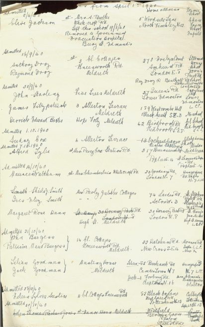 A list of evacuees, from the school's admissions register | Photograph courtesy of Meldreth Primary School