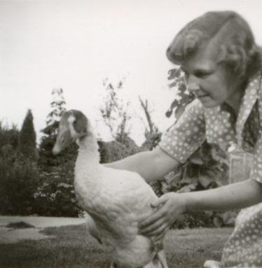 Freda Kefford with a goose ~1950 | 'Mac' Kefford