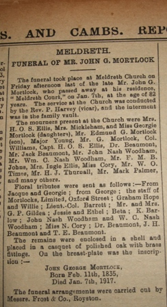 The Funeral of John George Mortlock | Herts. & Cambs Recorder, 26th January 1917