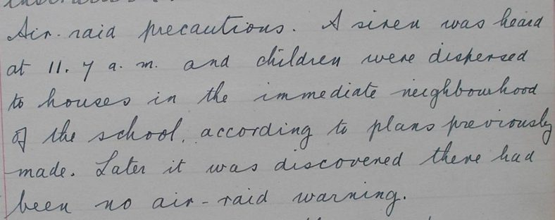 Extract from the school log book, 6 June 1940 | Photograph courtesy of Meldreth Primary School