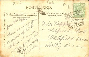 The rear of postcard No. 4 of a series of 7.  The postcard is postmarked 23rd May, the day after the fire.  It reads,