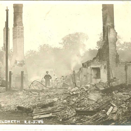 The aftermath of the fire | From a postcard supplied by Brian Clarke