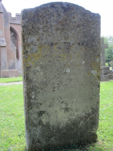 The inscription on John and Elizabeth Flack's gravestone in Holy Trinity churchyard is now virtually illegible | Photographed by Kathryn Betts, 23 June 2011