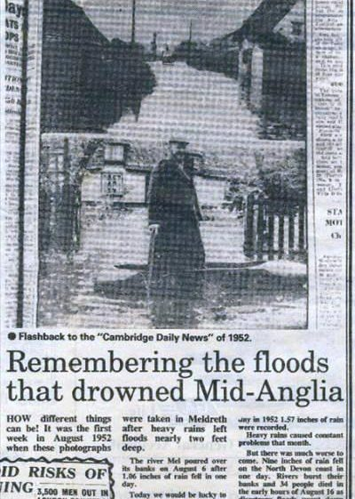 Cutting from Cambridge Evening News describing floods in High Street, Meldreth in August 1952. 09/08/1990 | Photo supplied by Mike Pilkington