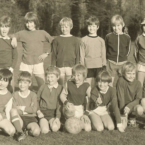 The Saturday morning football team, 1975.  Their home matches were played at the Primary School.  Back row, from left: Andrew Rogers, Mark Jeavons, Richard Knight, Kevin Knight, Alistair Jones, Graeme Singleton.  Front row, from left: Neil Hazelwood, Graham Connan, Jeremy Phillips, Nigel Clark, Neil Ghent, Mark Burns, Michael Chilvers. | Photograph courtesy of Richard Phillips