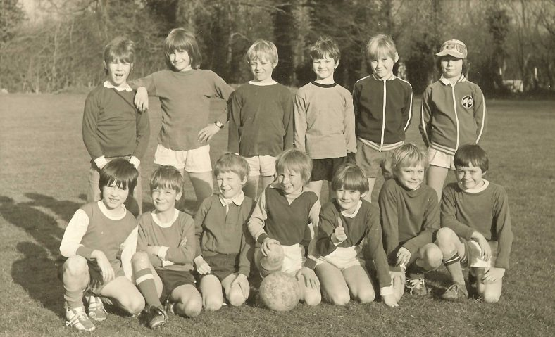 The Saturday morning football team, 1975.  Their home matches were played at the Primary School.  Back row, from left: Andrew Rogers, Mark Jeavons, Richard Knight, Kevin Knight, Alistair Jones, Graeme Singleton.  Front row, from left: Neil Hazelwood, Graham Connan, Jeremy Phillips, Nigel Clark, Neil Ghent, Mark Burns, Michael Chilvers.   Photograph courtesy of Richard Phillips