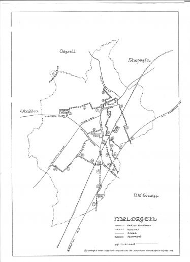 Map Showing Meldreth's Footpaths<br> You can also click on the downloadable link at the bottom of the page to view or print the map.