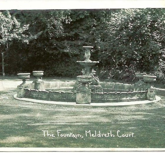 Meldreth Court fountain (Royal Doulton), High Street, Meldreth removed during the 70's bought by J Mortlock from a Gt. Exhibition. c. 1920 | Photo supplied by Ann Handscombe
