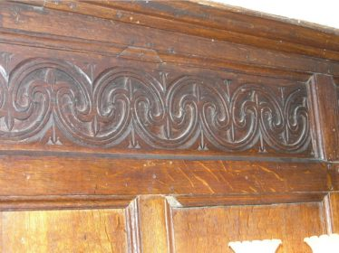 Detail of the Jacobean panelling in the Oak Room at Meldreth Court | photo by Tim Gane
