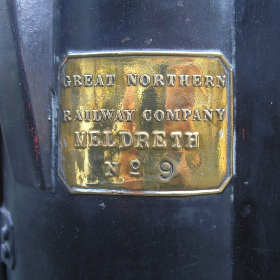 The Inscription on the GNR Triple Aspect Guards Lamp from Meldreth Station | Photo by Tim Gane courtesy of Mike Sharman