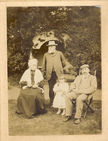 Palmer family group at Sheen Manor in 1902.  L:R Lydia Palmer, George Palmer snr (George Palmer's grandfather), Gladys Palmer (George's sister) and George Palmer (George's father) | Janet and Michael Pilkington