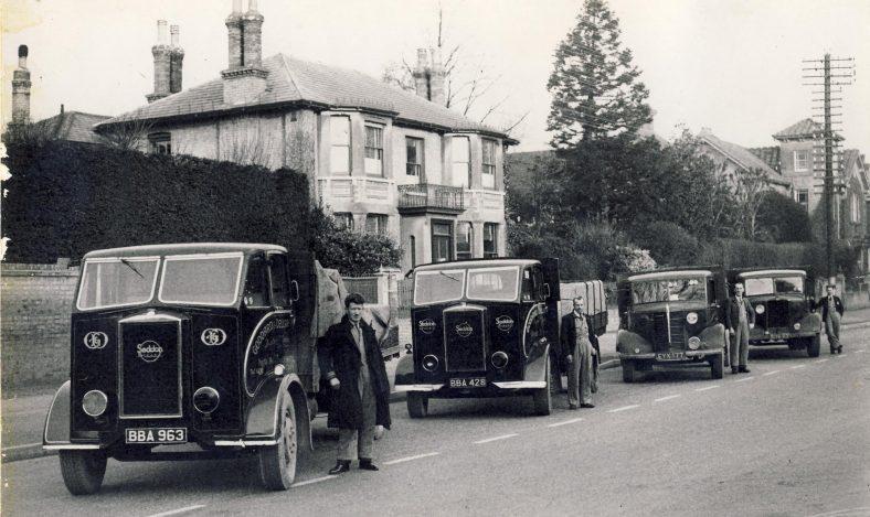 Goddard & Dellar Lorries in Royston. From left to right: Frank Cranwell, Ben Preston, Ernie West, Wilf Bowskill