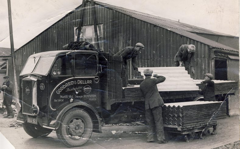 Goddard & Dellar lorry being loaded in The Atlas Yard at Meldreth. Please add a comment below if you can tell us the names of the men in this photo.