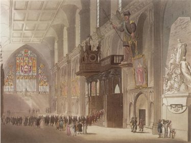 Great Hall of the Guildhall, London, where bankruptcy cases were held before the court moved to Basinghall Street | london lives.org