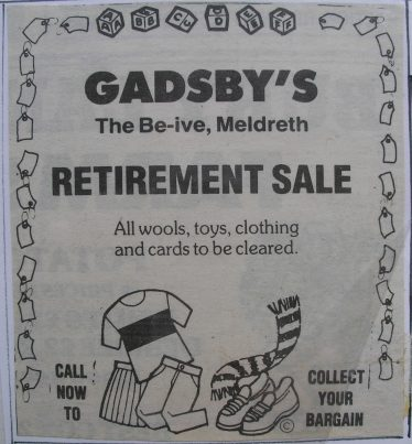 The advertisement for the retirement sale | Meldreth WI, 1988 album