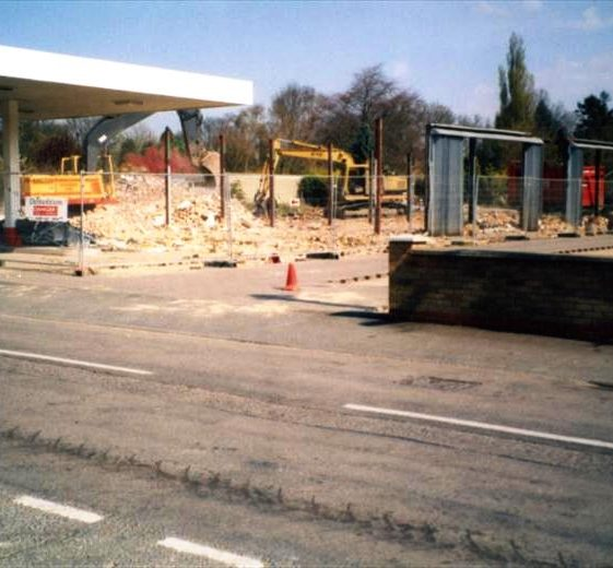 Renault garage, High Street, Meldreth being demolished for new housing development.  January 2000 | Photo supplied by Ann Handscombe
