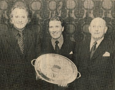 Pictured at the Royston Cricket Club are Mr D McIntyre (president, left), Brian Taylor (Essex and England, centre) presenting a silver tray to George Palmer (right) in appreciation of his many years as member, captain and former president of the club. Date: early 1970s | RH Clarke, Royston Crow