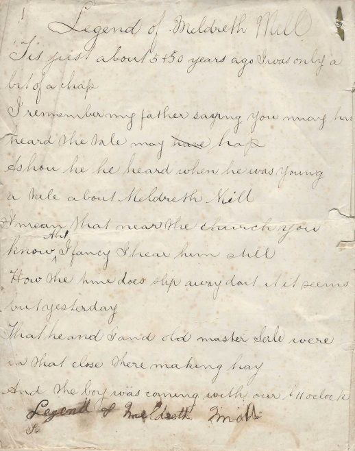 The first page of the hand-written ghost poem | Provided by Kathryn Betts