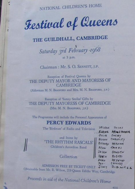 <b>Concert at the Guildhall, Cambridge - 3rd February 1968</b></br> The Rhythm Rascals - Valerie Cocks, Elaine Handscombe, Julie Emery, Alison Chalkley, Richard Harding, Kevin Thomas, Susan Bowden, Karen Rogers, Susan Haywood, Pat Chinery and Janet Bidnell - performed to an audience of 700 at the Guildhall in Cambridge at an event which included a personal appearance by Percy Edwards.  | Photograph courtesy of Meldreth Primary School