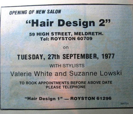 Advert for Hair Design hairdressers (no longer trading) | Meldreth W.I.